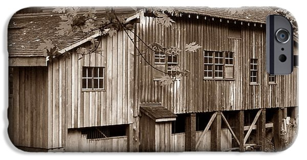 Grist Mill iPhone Cases - Cedar Creek Grist Mill Sepia iPhone Case by Chalet Roome-Rigdon