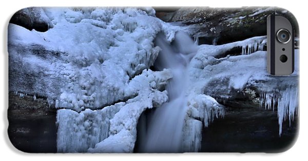 Water In Caves iPhone Cases - Cedar Falls In Winter At Hocking Hills iPhone Case by Dan Sproul