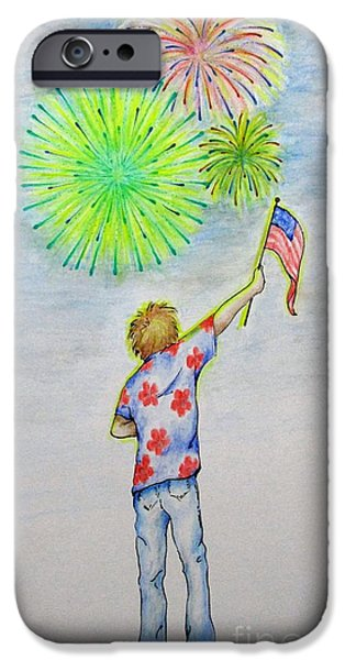4th July Paintings iPhone Cases - Celebrate America iPhone Case by Catherine Howley