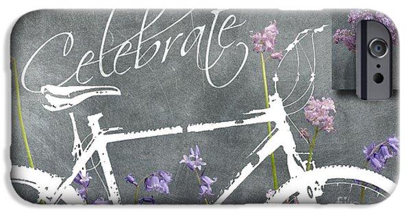 Celebrate Mixed Media iPhone Cases - Celebrate - Blackboard Inspirational Bicycle Art iPhone Case by ArtyZen Home - ArtyZen Studios