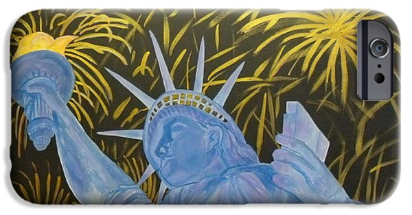 4th July Paintings iPhone Cases - Celebrate Freedom iPhone Case by Cheryl Lynn Looker