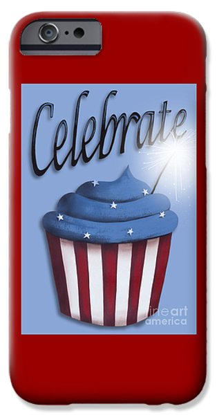 4th July Paintings iPhone Cases - Celebrate the 4th / Blue iPhone Case by Catherine Holman