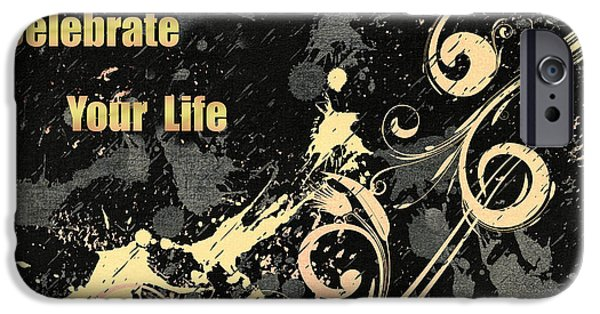 Daughter Gift iPhone Cases - Celebrate Your Life Modern Art Light iPhone Case by Georgiana Romanovna