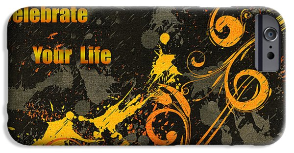 Daughter Gift iPhone Cases - Celebrate Your Life Modern Art iPhone Case by Georgiana Romanovna