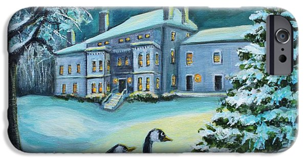 Canadian Geese Paintings iPhone Cases - Celebrating in the Moonlight iPhone Case by Rita Brown