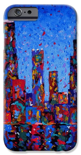 Willis Tower Paintings iPhone Cases - Celebration City - vertical iPhone Case by J Loren Reedy
