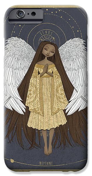 Heavenly Body iPhone Cases - Celestial Angel iPhone Case by Karyn Lewis Bonfiglio