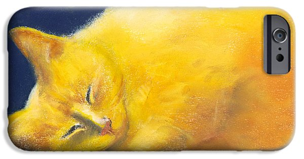 Moon Pastels iPhone Cases - Celestial Cat iPhone Case by Marie-Claire Dole