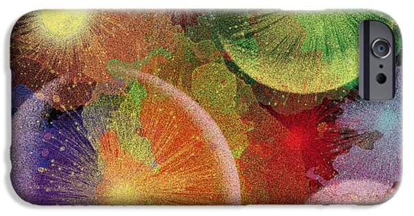 Fireworks iPhone Cases - Celestial Fireworks digital art iPhone Case by Georgeta Blanaru