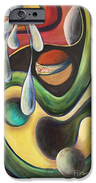 Concept Paintings iPhone Cases - Celestial Rhythms - Original Sold iPhone Case by Jolanta Anna Karolska