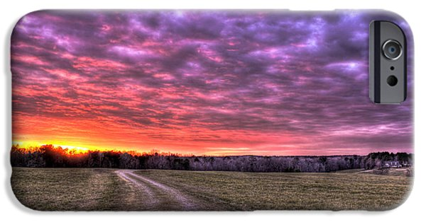 Pastureland iPhone Cases - Celestial Winter Sunset and The Way Home iPhone Case by Reid Callaway
