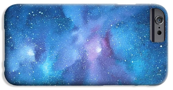 Deep Space Art Paintings iPhone Cases - Celestial iPhone Case by Toni Yasger