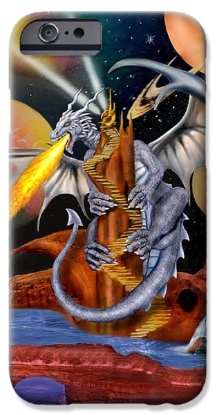 Serpent iPhone Cases - Celestian Dragon iPhone Case by Glenn Holbrook