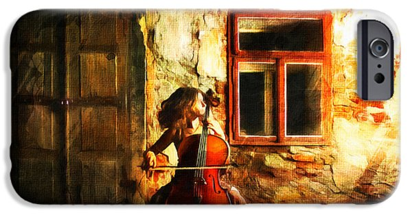 Poetic Mixed Media iPhone Cases - Cellist By Night iPhone Case by Georgiana Romanovna