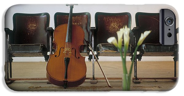 Absence iPhone Cases - Cello Leaning On Attached Chairs iPhone Case by Panoramic Images