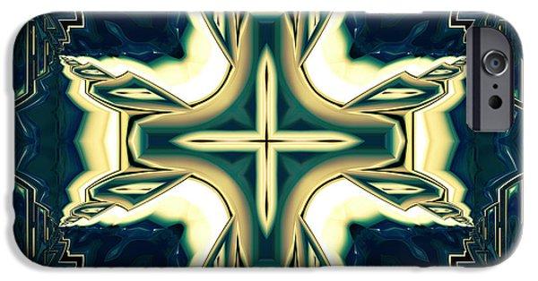 Ceramic Mixed Media iPhone Cases - Celtic Cross Abstract iPhone Case by Georgiana Romanovna