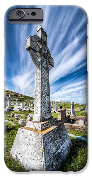 Grave Yard iPhone Cases - Celtic Cross iPhone Case by Adrian Evans
