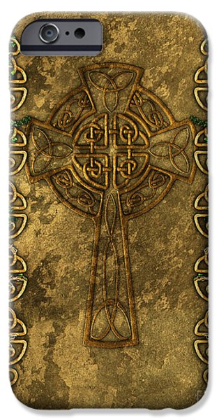 Celtic Knotwork iPhone Cases - Celtic Cross And Ivy iPhone Case by Chris MacDonald