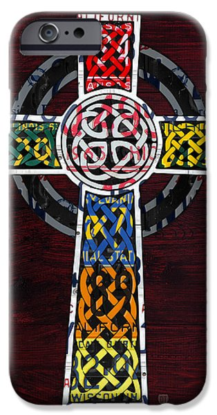 Mosaic Mixed Media iPhone Cases - Celtic Cross License Plate Art Recycled Mosaic on Wood Board iPhone Case by Design Turnpike