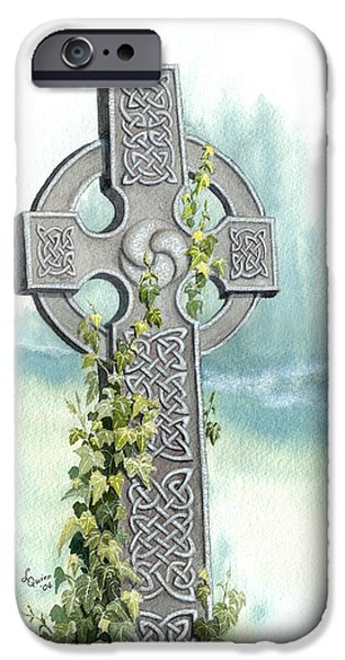 Celtic Knotwork iPhone Cases - Celtic Cross with Ivy II iPhone Case by Lynn Quinn