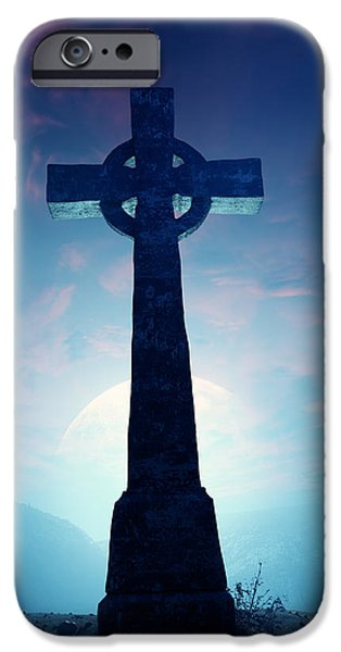 Eerie iPhone Cases - Celtic Cross with moon iPhone Case by Johan Swanepoel