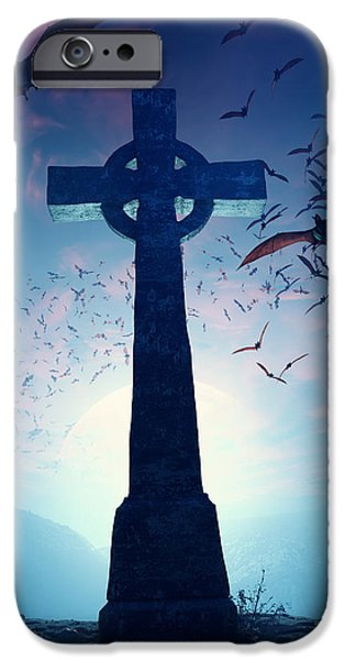 Eerie iPhone Cases - Celtic Cross with swarm of bats iPhone Case by Johan Swanepoel