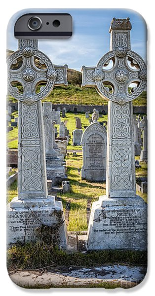Cemetary Digital Art iPhone Cases - Celtic Crosses iPhone Case by Adrian Evans
