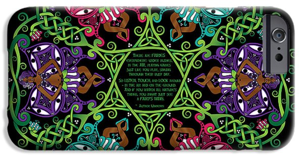Celtic Spiral iPhone Cases - Celtic Fairy Mandala iPhone Case by Celtic Artist Angela Dawn MacKay
