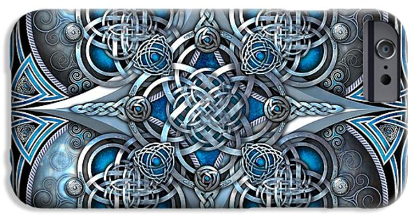 Celtic Knotwork iPhone Cases - Celtic Hearts - Blue and Silver iPhone Case by Richard Barnes