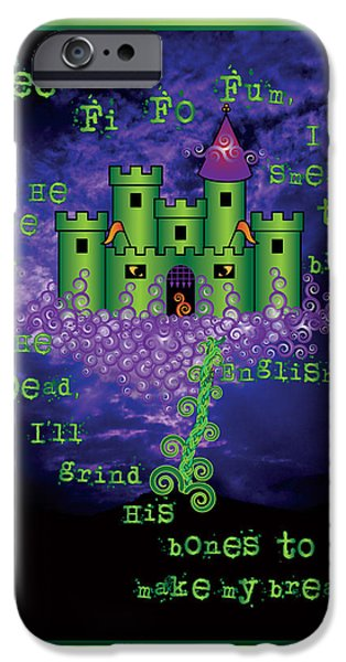 Celtic Spiral iPhone Cases - Celtic Jack and the Beanstalk in Green iPhone Case by Celtic Artist Angela Dawn MacKay
