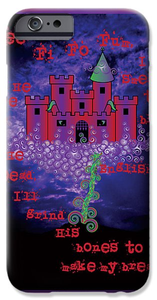 Celtic Spiral iPhone Cases - Celtic Jack and the Beanstalk in Red iPhone Case by Celtic Artist Angela Dawn MacKay