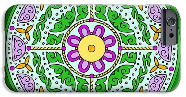 Kim Digital Art iPhone Cases - Celtic Mandala Spring iPhone Case by Kim Victoria