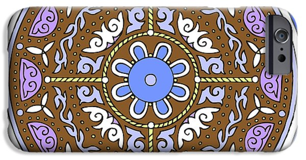 Kim Drawings iPhone Cases - Celtic Mandala Winter iPhone Case by Kim Victoria