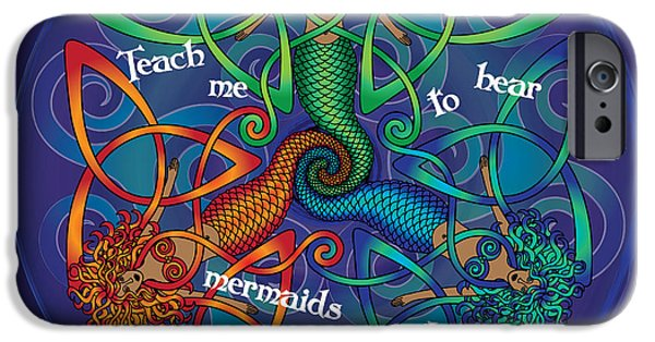 Celtic Spiral iPhone Cases - Celtic Mermaid Mandala iPhone Case by Celtic Artist Angela Dawn MacKay