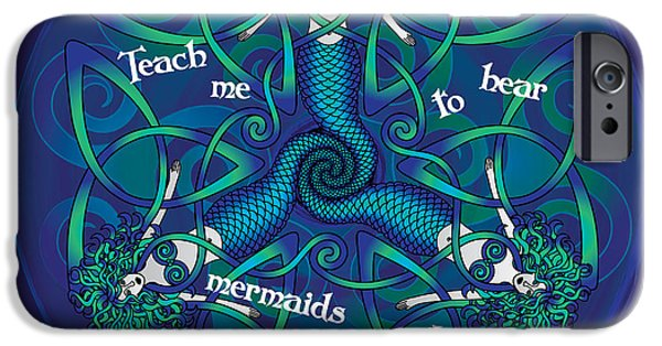 Celtic Spiral iPhone Cases - Celtic Mermaid Mandala in Blue and Green iPhone Case by Celtic Artist Angela Dawn MacKay