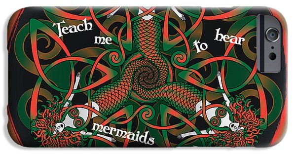 Celtic Spiral iPhone Cases - Celtic Mermaid Mandala in Orange and Green iPhone Case by Celtic Artist Angela Dawn MacKay