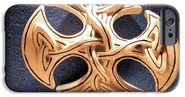 Relief Sculpture Reliefs iPhone Cases - Celtic Pop Art dark blue iPhone Case by Flow Fitzgerald