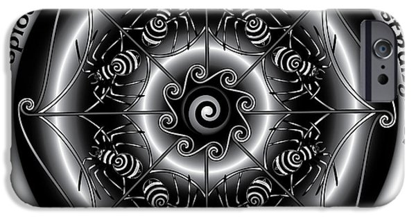 Celtic Spiral iPhone Cases - Celtic Spider Mandala iPhone Case by Celtic Artist Angela Dawn MacKay