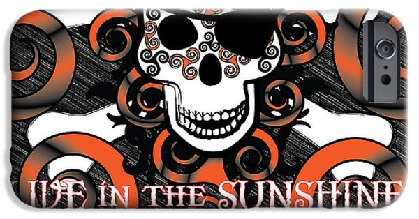 Celtic Spiral iPhone Cases - Celtic Spiral Pirate in Orange and Black iPhone Case by Celtic Artist Angela Dawn MacKay