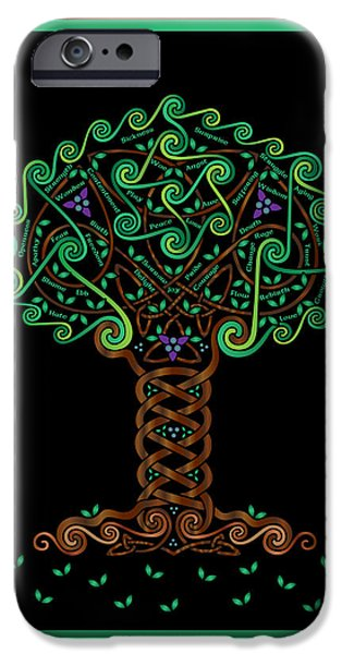 Celtic Spiral iPhone Cases - Celtic Tree of Life iPhone Case by Celtic Artist Angela Dawn MacKay