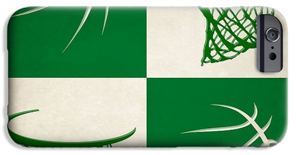 Tickets Boston iPhone Cases - Celtics Ball And Hoop iPhone Case by Joe Hamilton