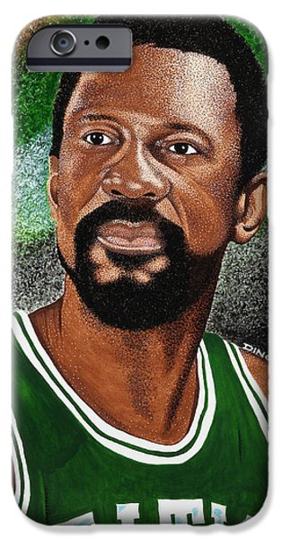 Recently Sold -  - Boston iPhone Cases - Celtics Legend Bill Russell iPhone Case by Dino Murphy