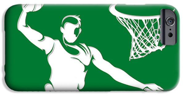 Tickets Boston iPhone Cases - Celtics Shadow Player1 iPhone Case by Joe Hamilton