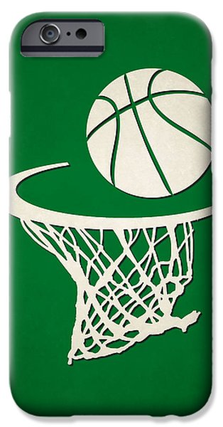 Tickets Boston iPhone Cases - Celtics Team Hoop2 iPhone Case by Joe Hamilton