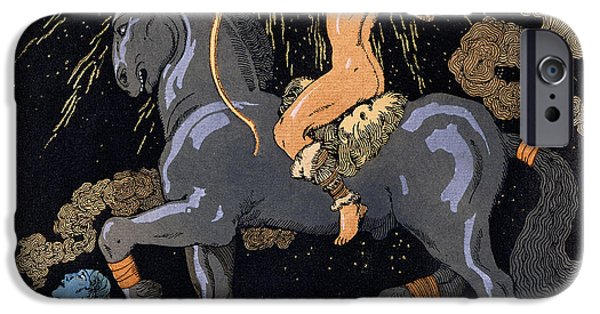 Mammals Drawings iPhone Cases - Celui qui Monte le Cheval Noir iPhone Case by Georges Barbier
