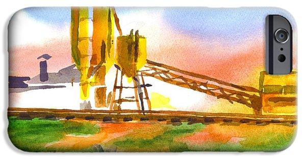 Machinery Paintings iPhone Cases - Cement Plant Across the Tracks iPhone Case by Kip DeVore