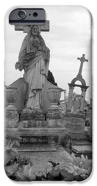 Cemetary iPhone Cases - Cemetary Cross iPhone Case by Sonia Flores Ruiz