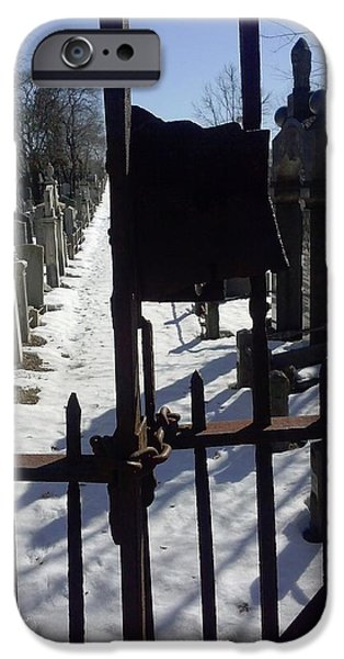 Cemetary iPhone Cases - Cemetary Gate iPhone Case by Yvette Velazquez