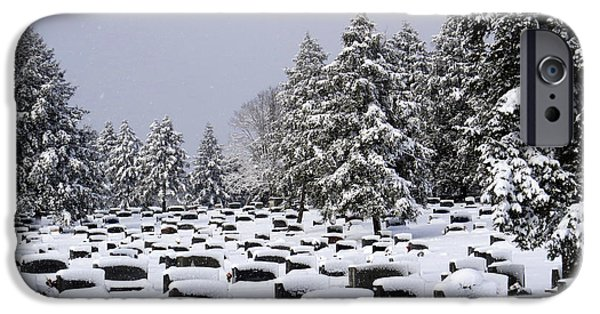 Headstones iPhone Cases - Cemetary Snow iPhone Case by Douglas Stucky