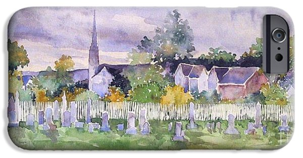 Cemetary iPhone Cases - Cemetary Watercolor iPhone Case by Sally Simon